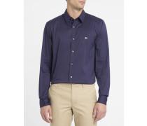 Marineblaues Slimfit-Hemd aus Stretch-Popeline mit Brustlogo
