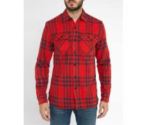 Rot kariertes Oberhemd Brushed Flannel