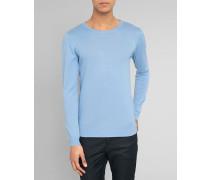 Himmelblauer Pullover mit Rundhalsausschnitt Basic