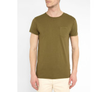 T-Shirt mit Tasche und eingedrehtem Kragen in Khakibraun