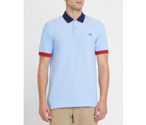 Poloshirt Color Block in Himmelblau