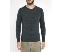 Grau-anthrazitgrau melierter Pullover mit Rundhalsausschnitt und -Logo Maniky