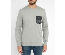 Graues Sweatshirt mit Rundhalsausschnitt Eaton Pocket Pr mit Tarnmustertasche