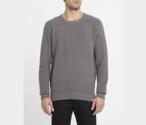 Grau gemischter Pullover mit Rundhalsausschnitt Vegan mit Strukturstreifen