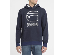 Kapuzensweatshirt mit Vasif-Logo in Marineblau