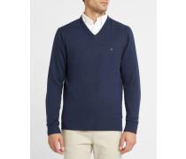 Marineblauer Pullover mit V-Ausschnitt aus Baumwolle und Kaschmir