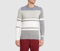Gestreifter Pullover mit Rundhalsausschnitt aus Feinstrick in Stahlgrau und Weiß