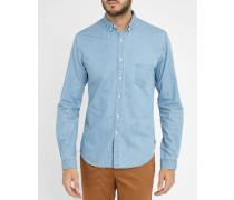 Denimblaues Slim-Hemd, kleine Tasche
