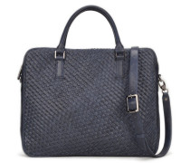 Lucas Leather Slim Laptop Bag - Nano Blue VT