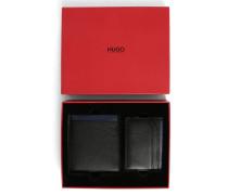 Set mit Portemonnaie und Kartentasche aus schwarzem Narben- und Glattleder mit blauem Kontrast
