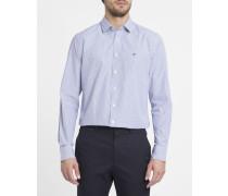 Weiß-blau gestreiftes Slimfit-Hemd mit Brustlogo Shadow