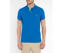 Poloshirt Stretch-Baumwolle Kontrastkragen königsblau