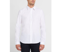 Weißes Popeline-Hemd Tailored mit Revers