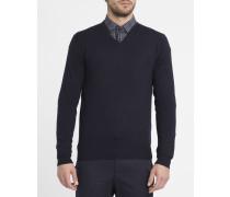 Pullover mit V-Ausschnitt aus feinem Gewebe mit Ton-in-Ton-Ellbogen in Marineblau