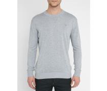 Pullover aus grau melierter Wolle mit Rundhalsausschnitt und Brustlogo Bandalo