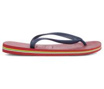 Rote Flip-Flops Brasil mit Logo und marineblauen Riemen