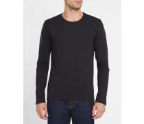Schwarzes T-Shirt ML mit Rundhalsausschnitt und Rücken- und Ärmellogo