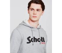 Schott Logo Pull Over Hoodie Grey