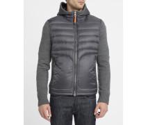 Hooded-Jacke aus Strick-Mix und graue Daunenjacke Illuga