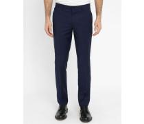 Blaue Slim-Hose aus Wolle