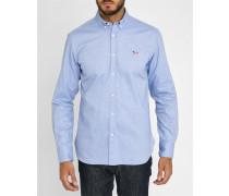 Himmelblaues Trikolore-Oxford-Hemd mit Aufnäher Fox