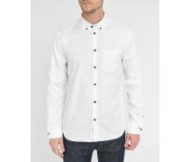 Weißes Hemd mit Knöpfen in Kontrastfarbe Oxford