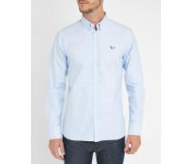Blaues Trikolore-Oxford-Hemd mit Aufnäher