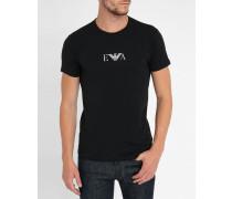 Doppelpack schwarze T-Shirts mit Rundhalsausschnitt und Logo