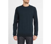 Blau melierter Pullover mit Rundhalsausschnitt Irie Patch Knit
