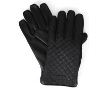 Schwarze Handschuhe aus gestepptem Leder mit Armani-Logo und Innenseite aus Wolle