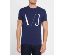 Marineblaues T-Shirt mit Rundhalsausschnitt und AJ-Logo