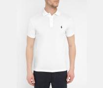 Weißes Stretch-Poloshirt mit engem Schnitt