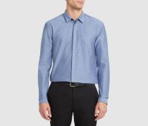 Slim-Fit-Hemd Bartlett aus Stretch-Popeline in Marineblau