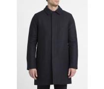 Blau-schwarzer Wollmantel mit verfließenden Karos Overcoat