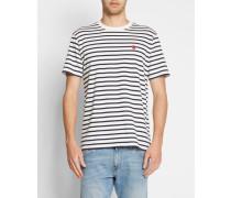 Weißes T-Shirt mit Rundhalsausschnitt und Brustlogo mit marineblauen Streifen