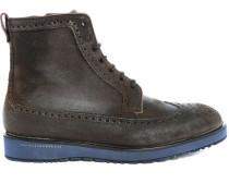 Hohe Schuhe aus Veloursleder mit khakifarbener Gummisohle