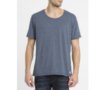 Blaues T-Shirt Basic Open Neck Crew