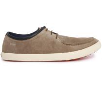 Beige niedrige Sneaker aus Velours-Oberleder Pelotas Persil