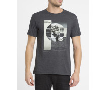 Schwarzes T-Shirt mit Broadcast-Print
