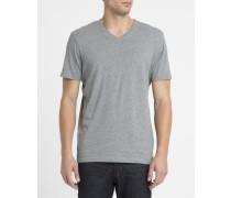 Graues T-Shirt Basic mit V-Ausschnitt