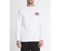 T-Shirt ML Raglan mit Aufdruck Mind Control in Weiß