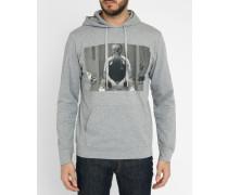 Graues Kapuzensweatshirt mit Print
