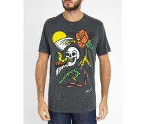 Schwarzes T-Shirt mit Rundhalsausschnitt und Print Joe-H