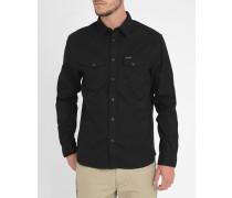 Schwarzes Hemd mit Druckknopftaschen Herritage