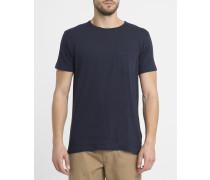 Marineblaues T-Shirt 1002 mit Rundhalsausschnitt und Brusttasche