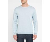 Feiner Pullover aus Baumwolle und Seide in Himmelblau