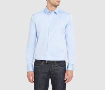 Himmelblaues Slim-Hemd mit kleinem Kragen aus dehnbarer Baumwollpopeline
