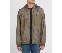 Braune Regenjacke mit Kapuze und Reißverschluss Pr