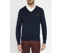 Pullover mit V-Ausschnitt aus marineblauer Pima-Baumwolle