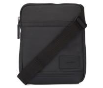 Flache Tasche aus schwarz beschichtetem Stoff